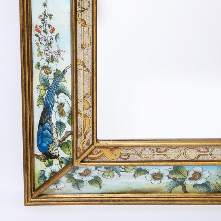 Mid-Century Modern Reverse Eglomise Painted Mirror with Stylized Flora and Fauna 2