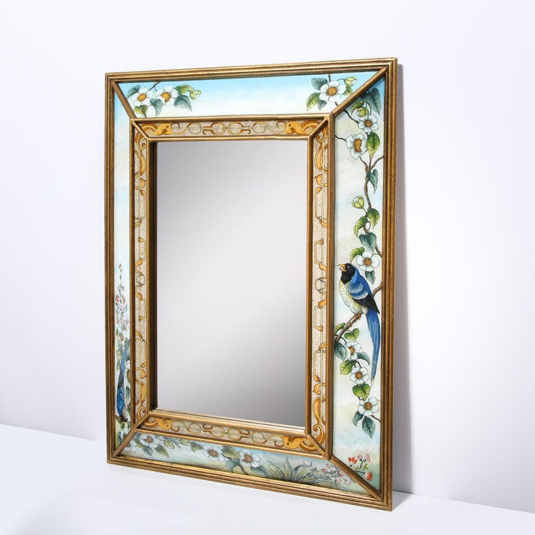 Mid-Century Modern Reverse Eglomise Painted Mirror with Stylized Flora and Fauna 3