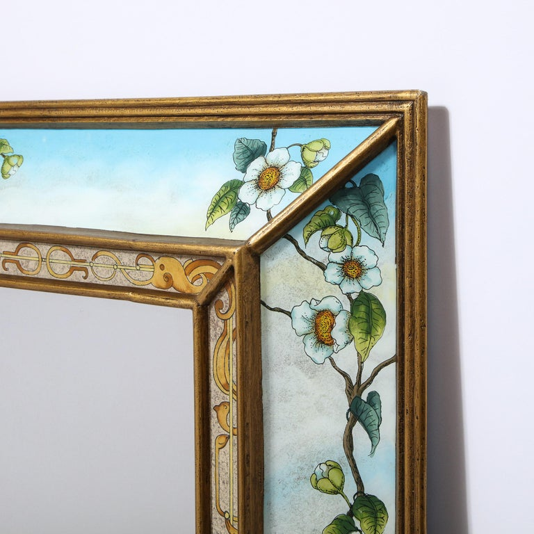 Mid-Century Modern Reverse Eglomise Painted Mirror with Stylized Flora and Fauna 4