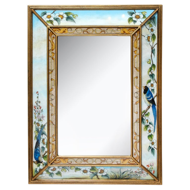 Mid-Century Modern Reverse Eglomise Painted Mirror with Stylized Flora and Fauna