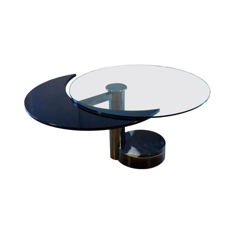 Round & Oval Dining Table with Glass & Black Top by Mario Mazzer for Zanette For Sale