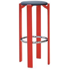 Mid-Century Modern, Rey Barstool by Bruno Rey, Color Red, Design, 1971