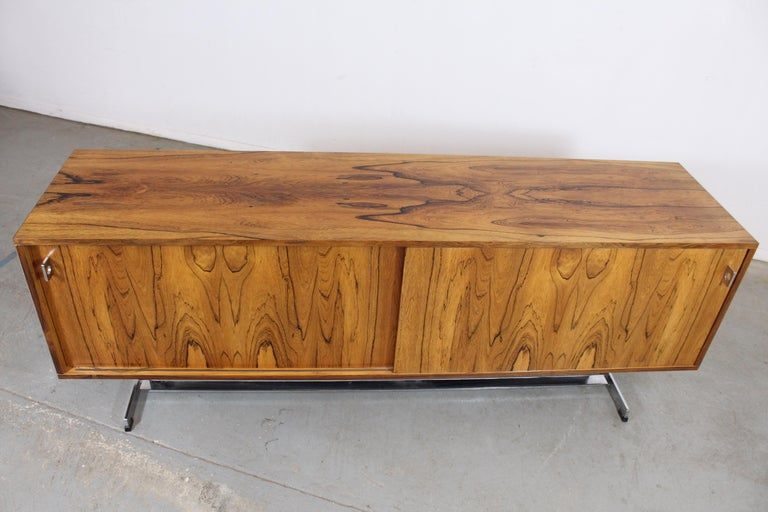 Glass Mid-Century Modern Richard Young for Merrow Associates Chrome Credenza For Sale