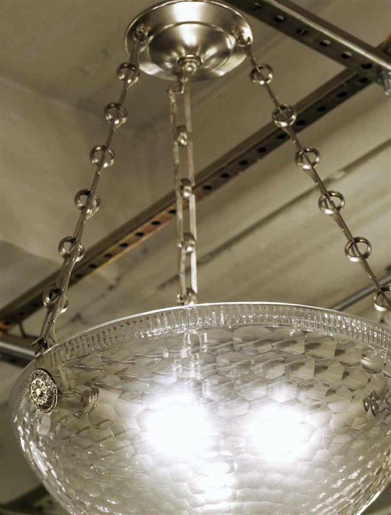 Brushed Mid-Century Modern Rippled Clear Glass Bowl Pendant Light with Unique Chain For Sale