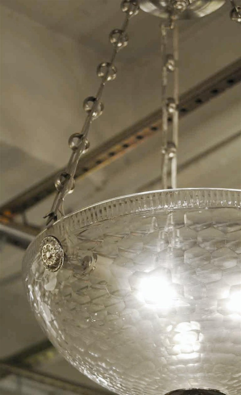 Contemporary Mid-Century Modern Rippled Clear Glass Bowl Pendant Light with Unique Chain For Sale