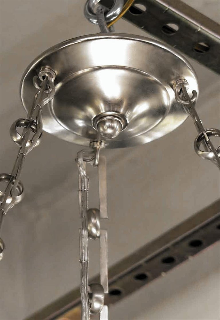 Mid-Century Modern Rippled Clear Glass Bowl Pendant Light with Unique Chain For Sale 3