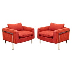 Mid-Century Modern Robert Haussmann Stendig Steel Cased Pair Lounge Chairs 1950s