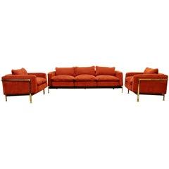 Mid-Century Modern Robert Haussmann Stendig Steel Cased Sofa & Pair Chairs 1950s