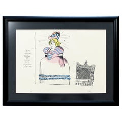 Mid-Century Modern Robert Israel Signed AP Hand Colored Litho Pretty Polly, 1970