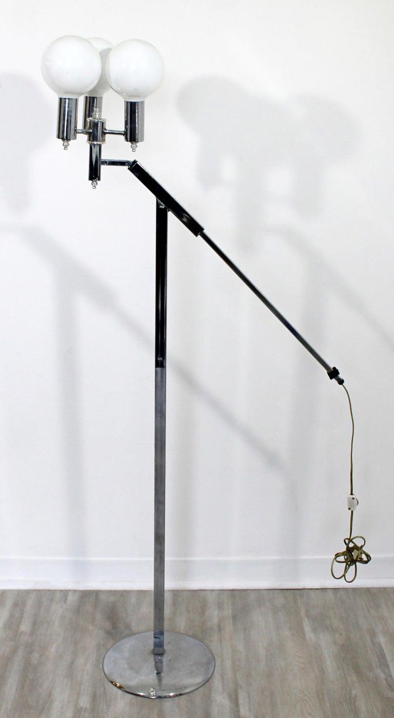Late 20th Century Mid-Century Modern Robert Sonneman Adjustable 3-Arm Globe Chrome Floor Lamp For Sale