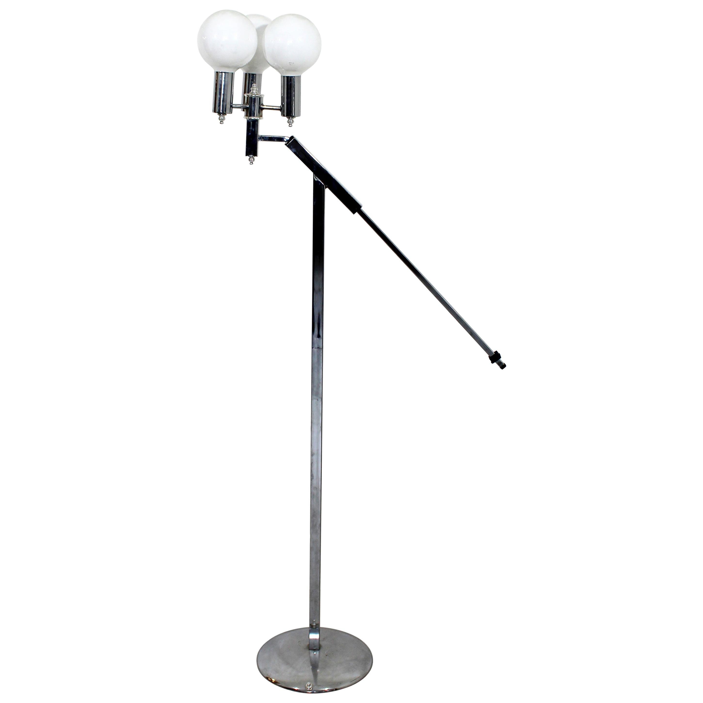 Mid-Century Modern Robert Sonneman Adjustable 3-Arm Globe Chrome Floor Lamp