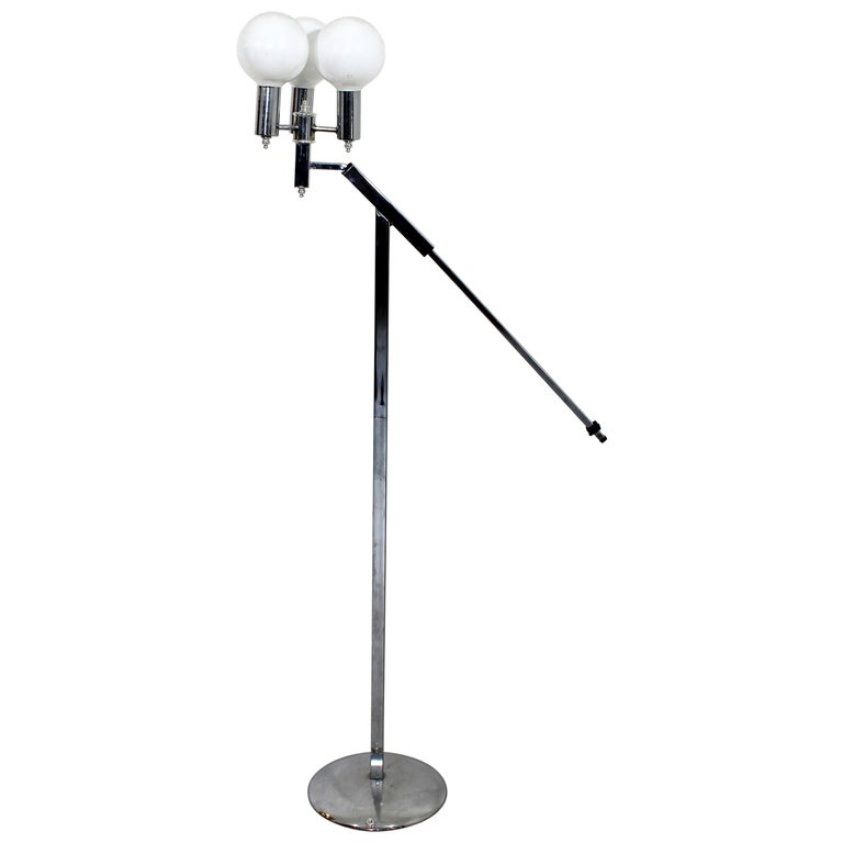 Mid-Century Modern Robert Sonneman Adjustable 3-Arm Globe Chrome Floor Lamp For Sale