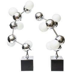 Mid-Century Modern Robert Sonneman Atomic Molecule Sculptural Lamps