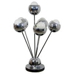 Mid-Century Modern Robert Sonneman Chrome Sputnik 6-Arm Table Lamp, 1970s
