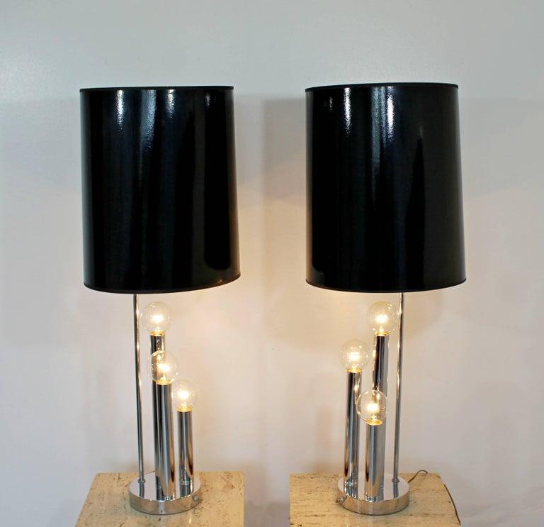 Mid-Century Modern Robert Sonneman Pair of Chrome Three Bulb Table Lamps 1970s For Sale 1