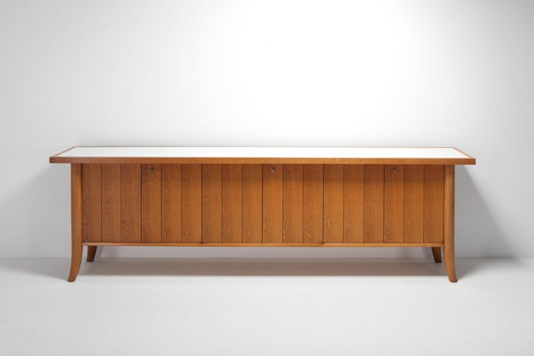 North American Mid-Century Modern Robsjohn Gibbings Japanese Oak Credenza For Sale