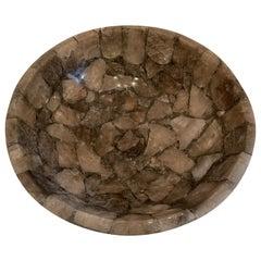 Mid-Century Modern Rock Crystal Round Natural Smoke Grey Tea Quartz Centerpiece