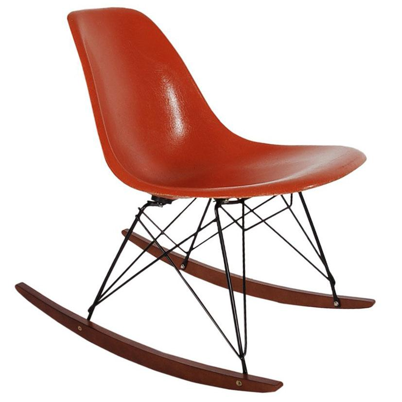 Superieur Mid Century Modern Rocking Chair By Charles Eames For Herman Miller In  Orange