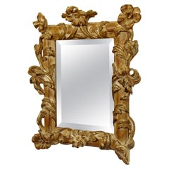 Mid-Century Modern Rococo Gold Gilt Carved Floral Single Wood Wall Mirror 1960s
