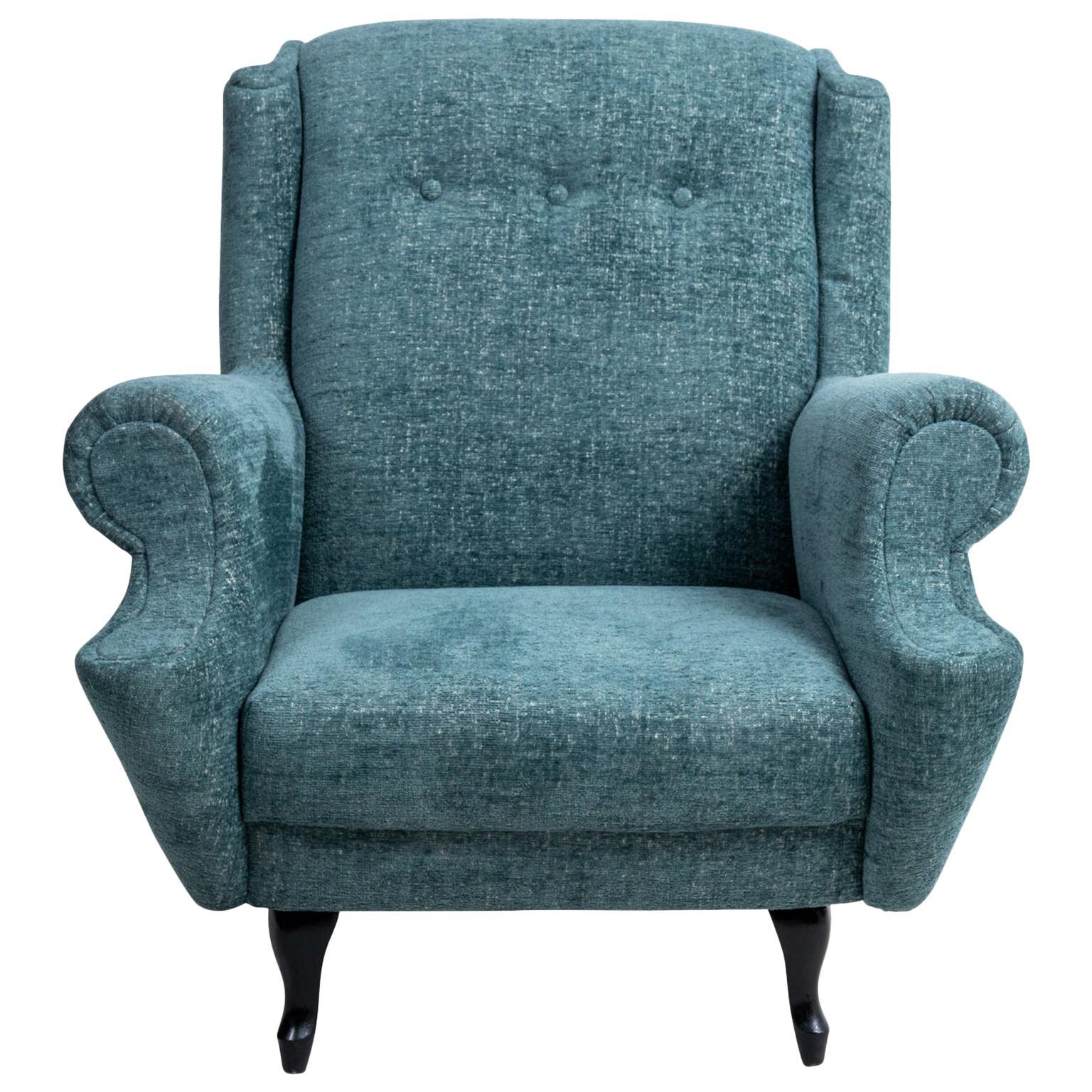 Mid-Century Modern Roll Arm Lounge Chair