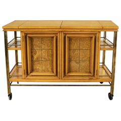 Mid-Century Modern Rolling Flip Top Bar Cart Attributed to J. L. Metz Contempora
