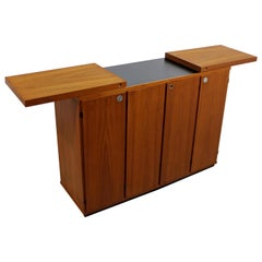 Mid-Century Modern Rolling Teak Expandable Top Bar on Casters Danish, 1960s