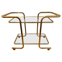 Mid-Century Modern Rolling Tubular Brass and Glass Bar Cart, Tea Trolley Barcart