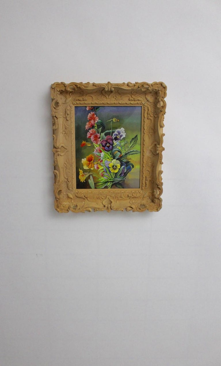 This presented delightful painting shows a motif flowers in bright shining colors by Max Dättl, 1960, Vienna. Max Dättl, (1894-1989) The naturalistic painting is framed in a hand carved bass wooden frame which shows also flowers. Watercolors on