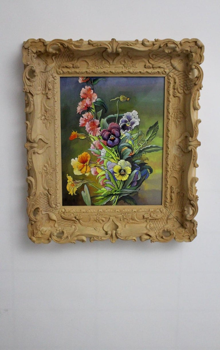Austrian Mid-Century Modern Romantic Painting Flowers by Max Dättl, 1960, Vienna For Sale