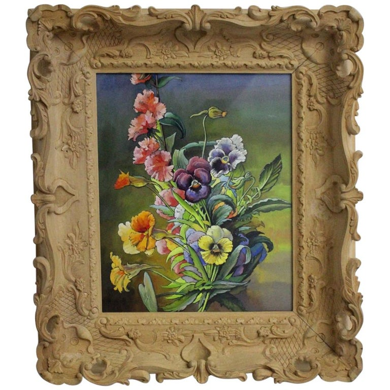 Mid-Century Modern Romantic Painting Flowers by Max Dättl, 1960, Vienna For Sale