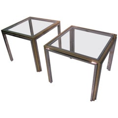 Mid-Century Modern Romeo Rega Chrome with Brass Side Tables, Cocktail Table