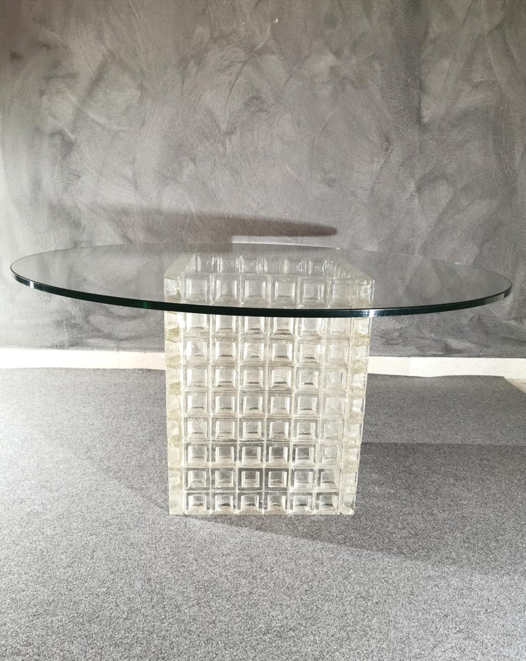 Mid Century Coffee Table Murano Glass by Albano Poli for Poliarte Italy 1970s  For Sale 2
