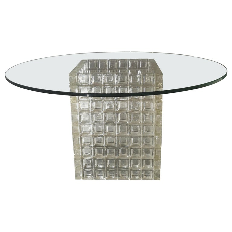 Mid Century Coffee Table Murano Glass by Albano Poli for Poliarte Italy 1970s  For Sale
