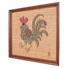 Mid-Century Modern Rooster Mosaic Wall Art, Mixed-Media, Bronze Tiles by K