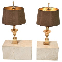 """Mid-Century Modern """"Roseaux"""" Table Lamps by Boulanger, Belgium, 1970, Set of Two"""