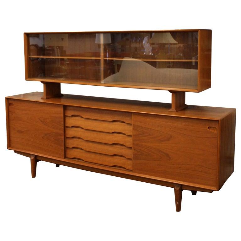 Mid-Century Modern Rosengren Hansen Dyrlund Danish Teak Credenza & Hutch, 1960s For Sale