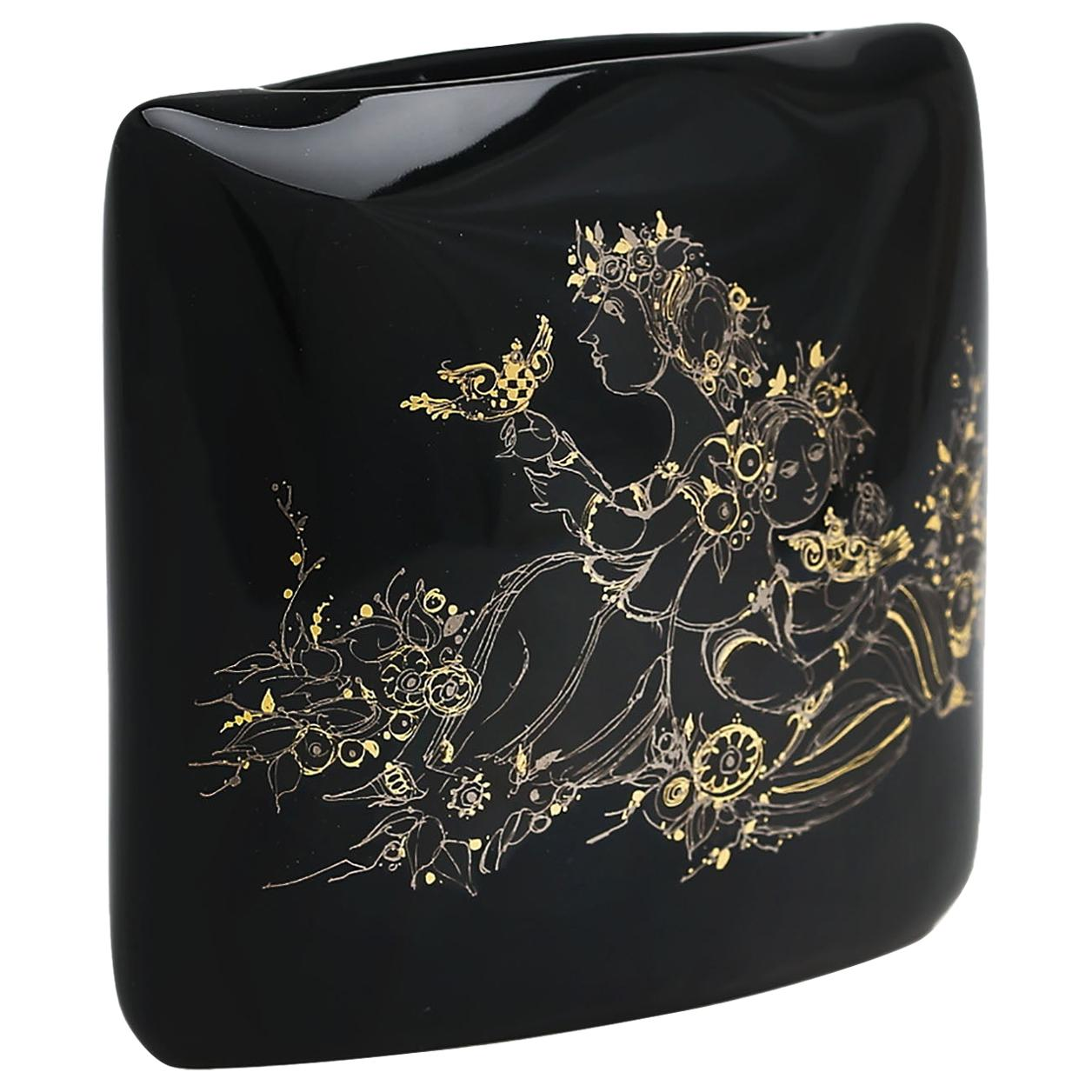 Mid-Century Modern Rosenthal Björn Wiinblad Porcelain Noire Vase