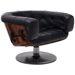Mid-Century Modern Rosewood and Black Leather Lounge Chair by Martin Grierson