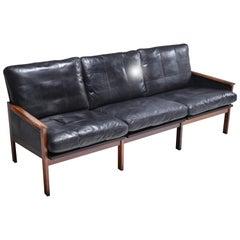 Mid-Century Modern Rosewood and Black Leather Sofa, Illum Wikkelso, Denmark