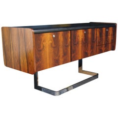 Mid-Century Modern Rosewood and Chrome Credenza by Ste. Marie & Laurent, Buffet