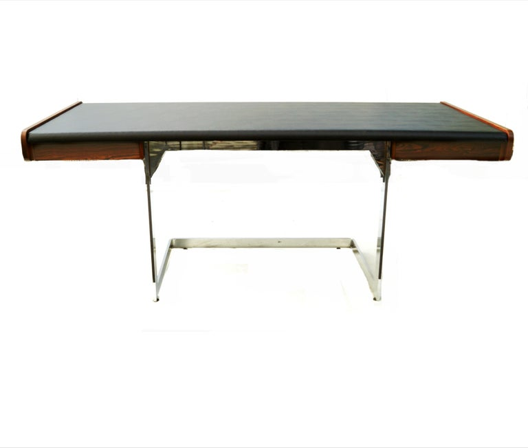 Mid-Century Modern Rosewood and Chrome Desk by Ste. Marie & Laurent In Good Condition For Sale In Wayne, NJ