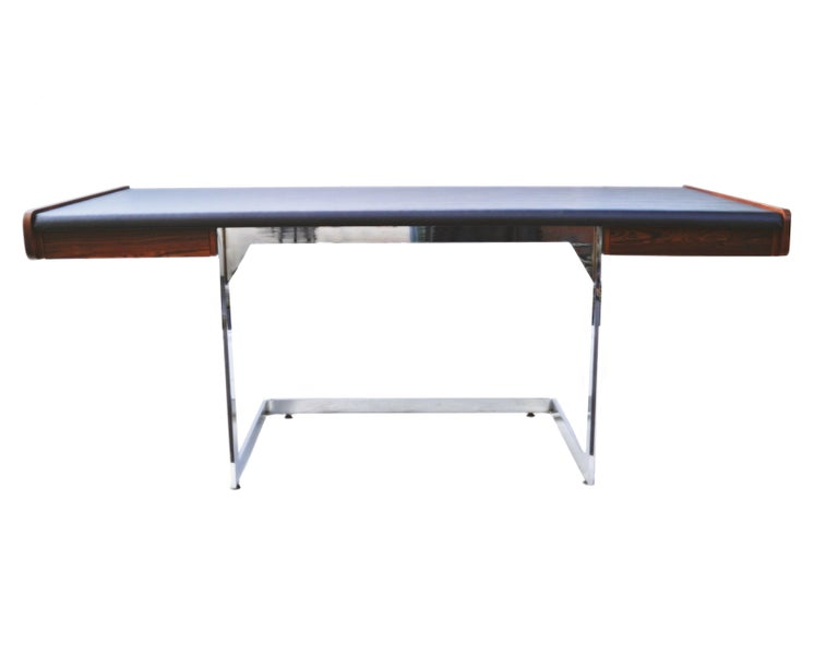 Mid-20th Century Mid-Century Modern Rosewood and Chrome Desk by Ste. Marie & Laurent For Sale