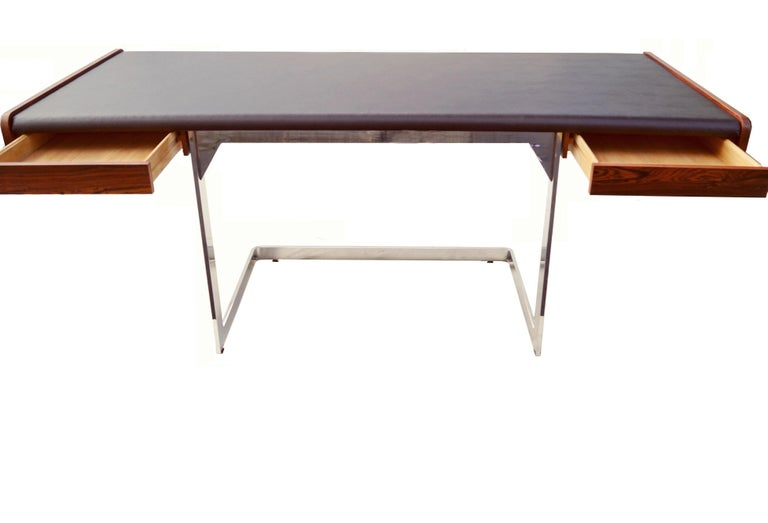 Wood Mid-Century Modern Rosewood and Chrome Desk by Ste. Marie & Laurent For Sale