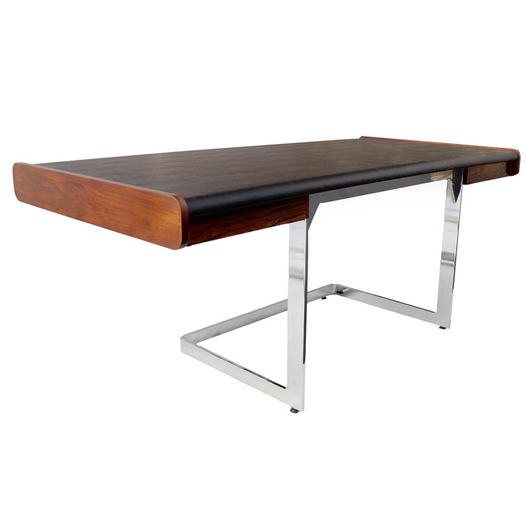 Mid-Century Modern Rosewood and Chrome Desk by Ste. Marie & Laurent For Sale