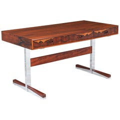 Mid-Century Modern Rosewood and Steel Floating Top Desk by Ganddal Møbelfabrikk