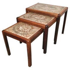 Mid-Century Modern Rosewood and Tile Set of Three Stack Tables