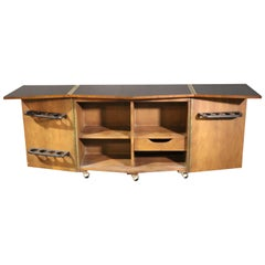 Mid-Century Modern Rosewood and Walnut Lane Dry Bar Credenza Server Buffet