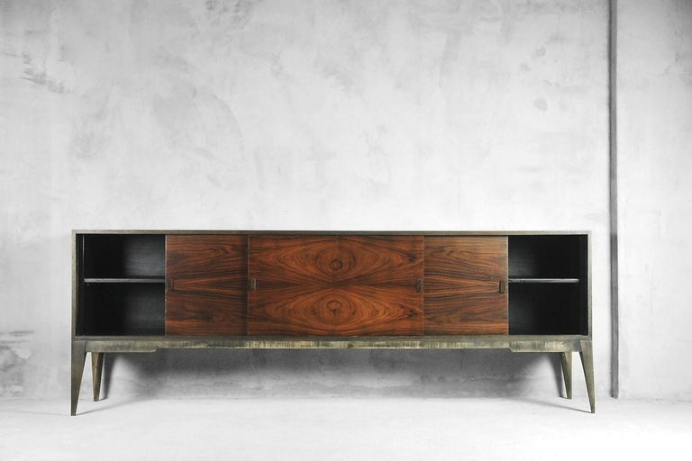Mid-Century Modern Rosewood and Walnut Scandinavian Sideboard, 1960s For Sale 1