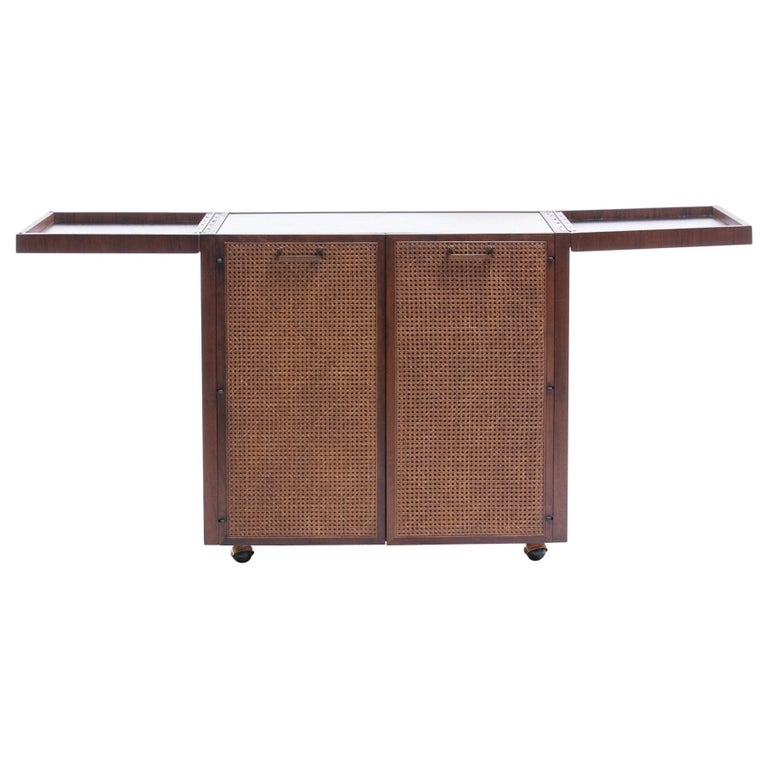 Mid-Century Modern Rosewood Bar Serving Cart by Jack Cartwright for Founders For Sale