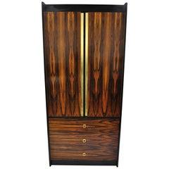 Mid-Century Modern Rosewood Black Laminate John Stuart Style Wardrobe Cabinet B